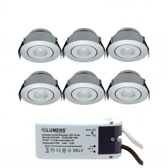 Capella Flex Downlight Mini 6 x 3W LED m/driver Aluminium