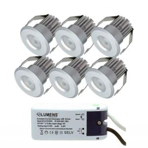 Capella IP44 Downlight Mini 6 x 3W LED m/driver Aluminium