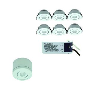 Capella Flex Downlight Mini 6 x 3W LED m/driver Alu inkludert 6 stk monteringskopper for utenpåliggende montering