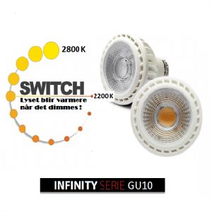 LED pære Infinity 230V/GU10/6,5W LED 2000-2800k Dim to Warm